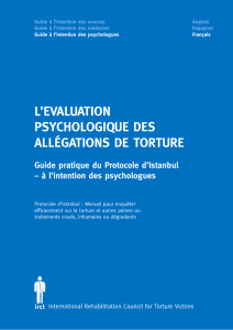 Guide pratique du Protocole d`Istanbul à l`intention des psychologues