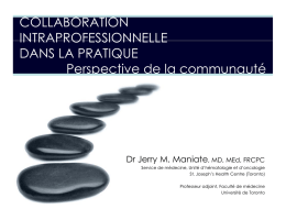COLLABORATION INTRAPROFESSIONNELLE DANS LA