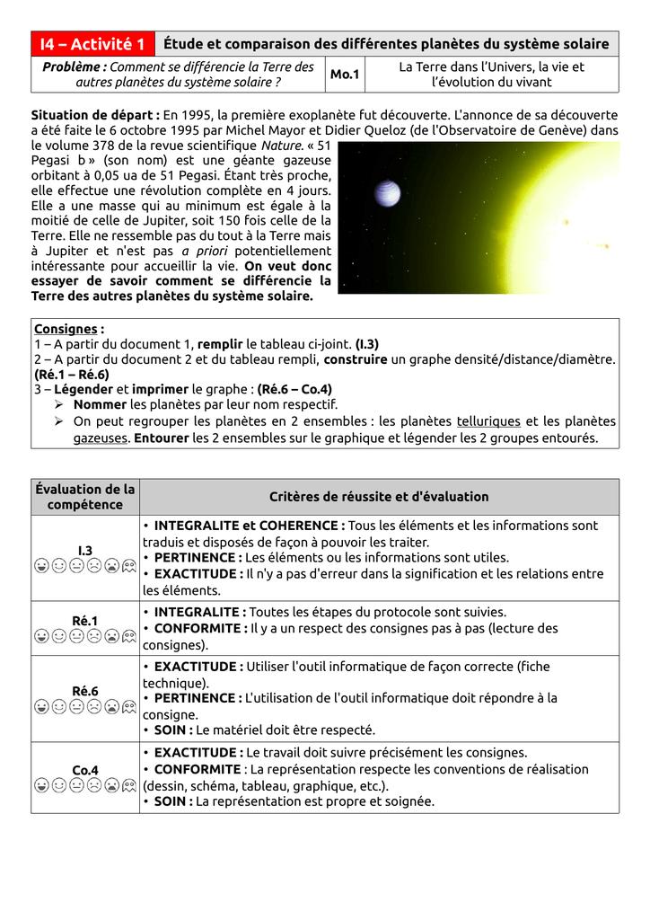 I4 Activité 1 étude Et Comparaison Des Différentes Planètes Du