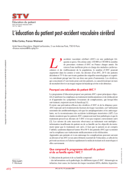 L`éducation du patient post-accident vasculaire cérébral