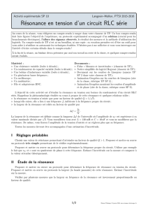 Résonance en tension d`un circuit RLC série