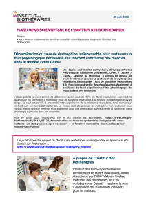 FLASH NEWS SCIENTIFIQUE DE L`INSTITUT DES BIOTHERAPIES