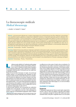 La thoracoscopie médicale - Medical thoracoscopy