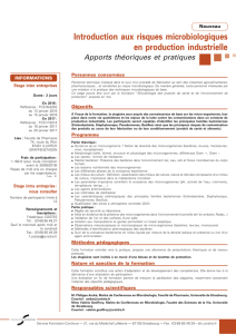 Introduction aux risques microbiologiques en production industrielle