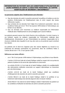 INFORMATION DU PATIENT SUR LES CONDITIONS D