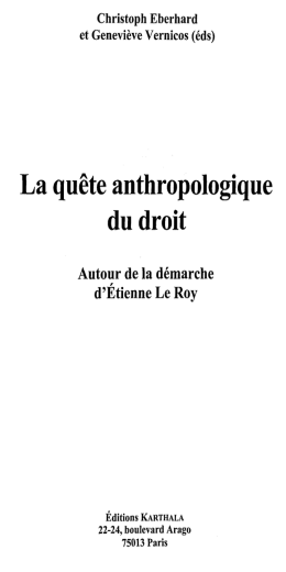 La quete anthropologique du droit