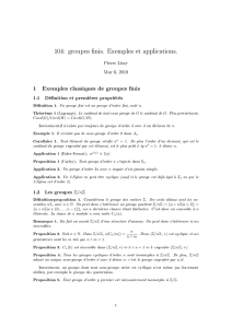104: groupes finis. Exemples et applications.