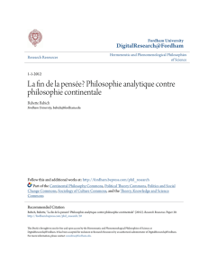 Philosophie analytique contre philosophie continentale