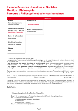 Université - Licence Sciences Humaines et SocialesMention