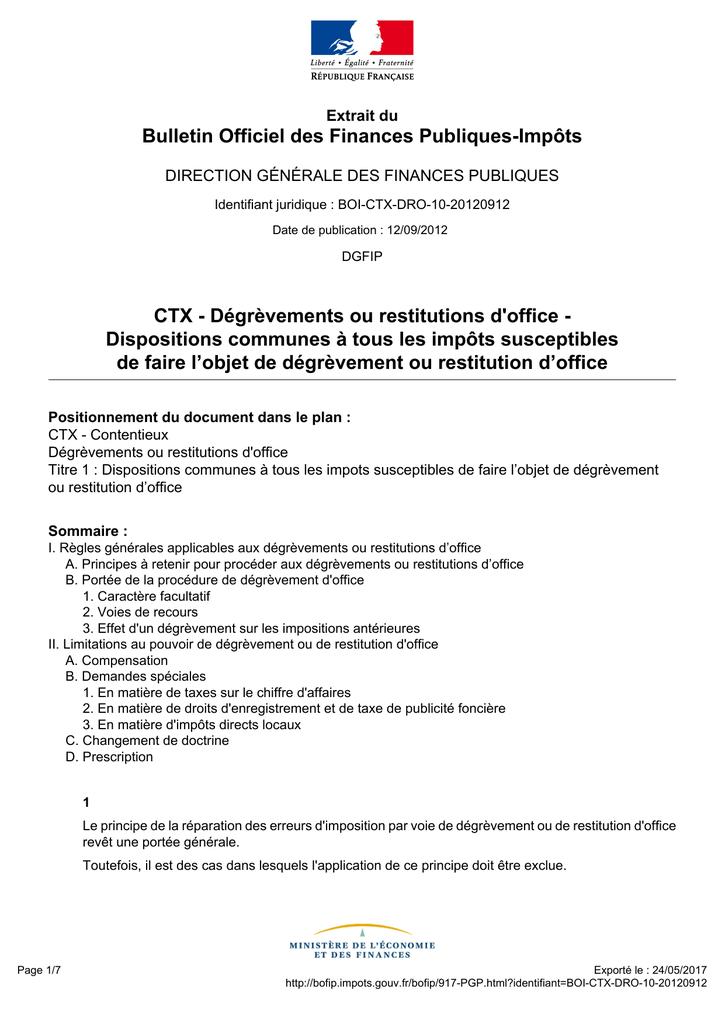 Degrevements Ou Restitutions D Office Bofip