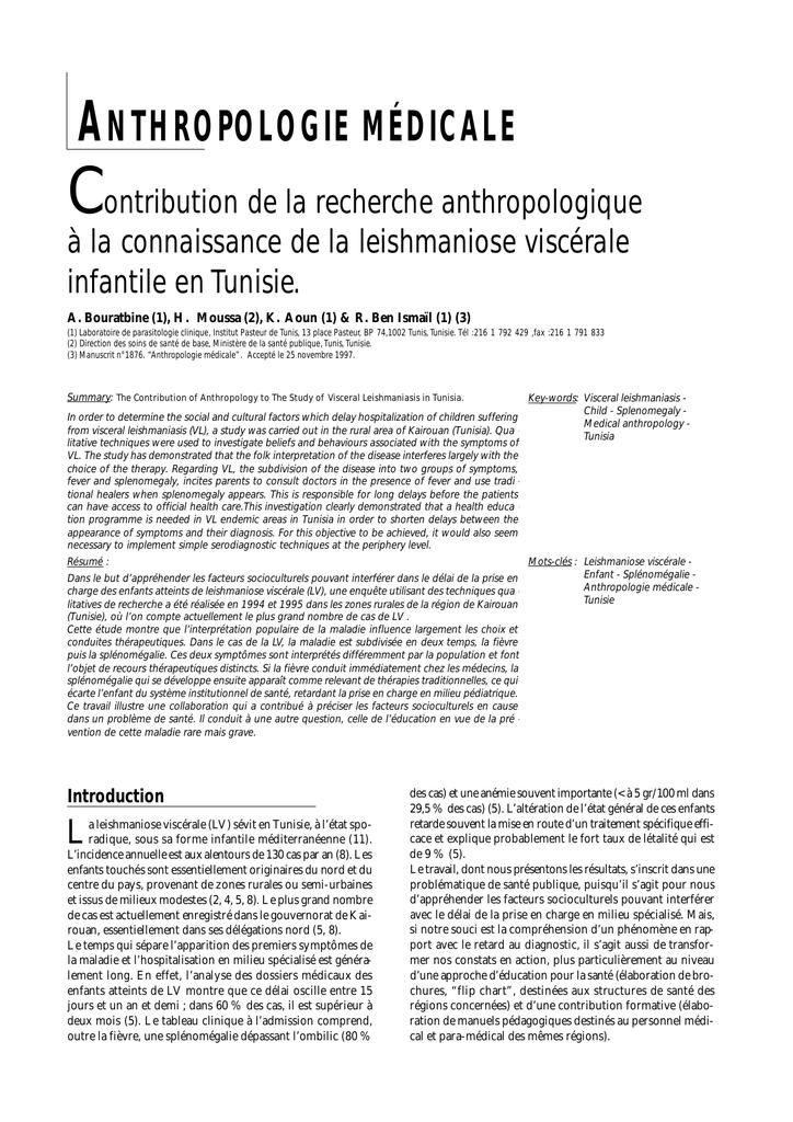 ANTHROPOLOGIE MÉDICALE - Société de Pathologie Exotique