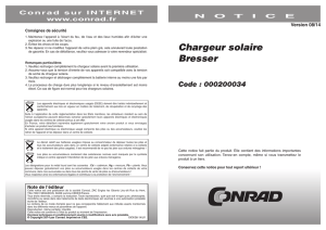 Chargeur solaire Bresser Code : 000200034