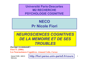 NECO Pr Nicole Fiori NEUROSCIENCES COGNITIVES DE LA