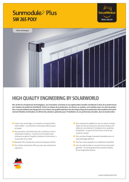 SW 265 POLY HigH QuaLitY EnginEEring bY SOLarWOrLd