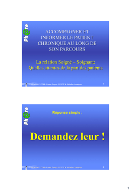 Le point de vue du patient par Michel COULOMB