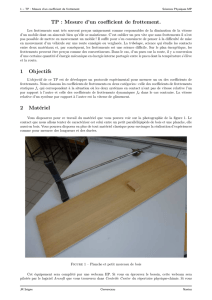 Mesure d`un coefficient de frottement