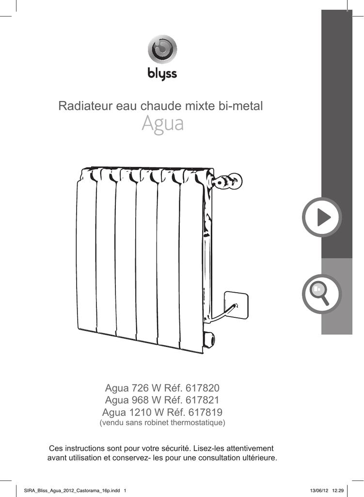 ÉLECTRIQUE 750W RADIATEUR MIXTE BLYSS AGUA EAU CHAUDE 726W