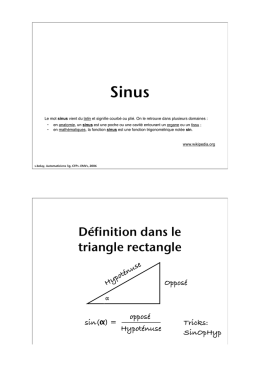 Définition dans le triangle rectangle