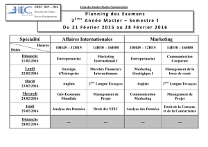 Spécialité Affaires Internationales Marketing Planning des Examens