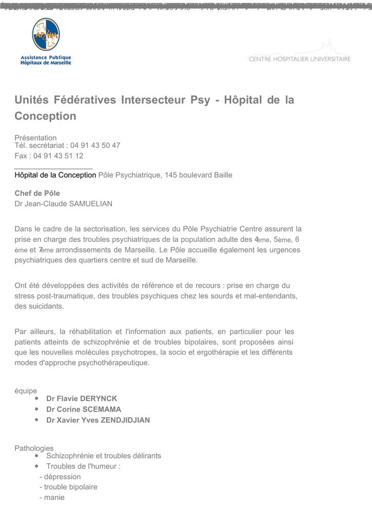 Unités Fédératives Intersecteur Psy Hôpital De La Ap Hm