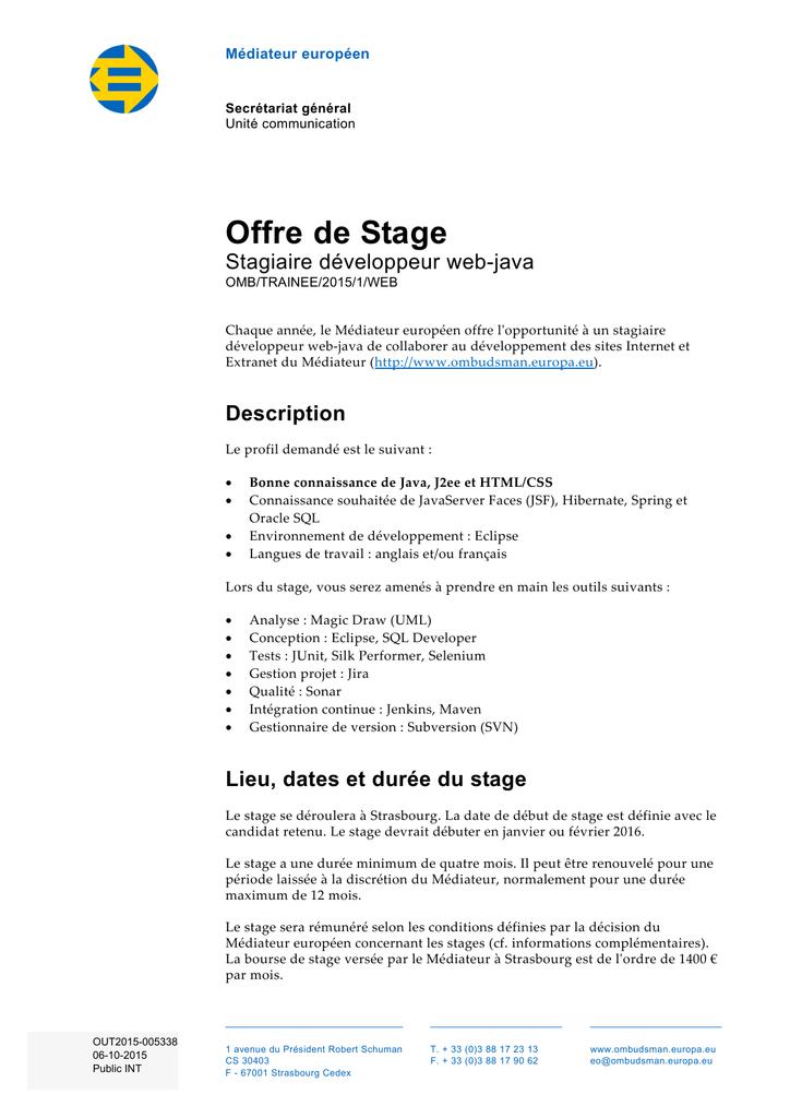 Lettre De Motivation Stage Developpeur Java