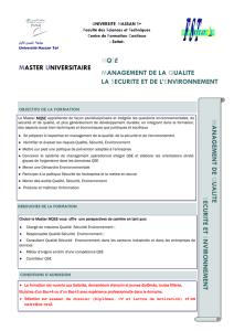 MQSE MANAGEMENT DE LA QUALITE LA SECURITE ET DE L