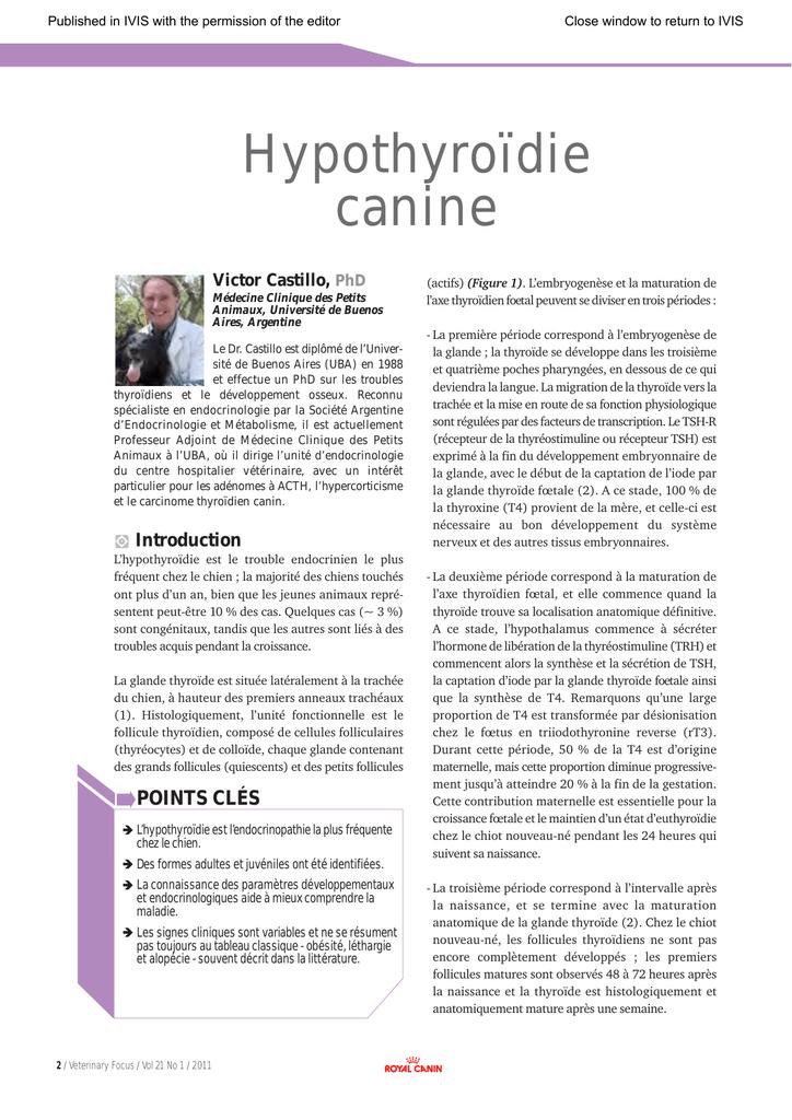 Hypothyroïdie canine  In: Veterinary Focus, Vol  21(1)-2011