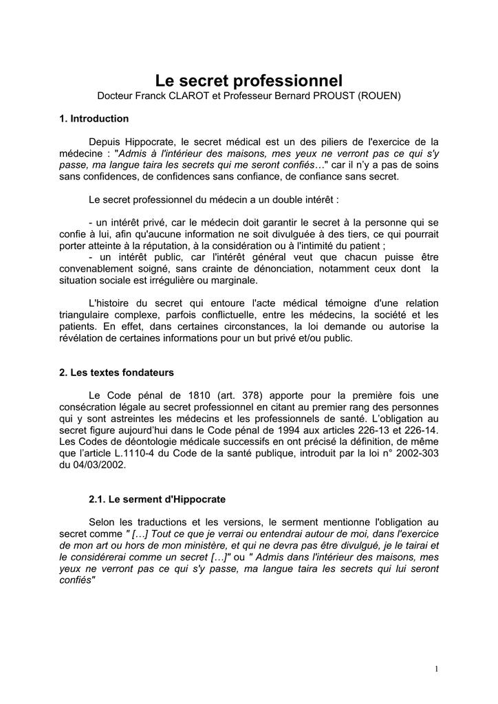 Secret professionnel - Société Française de Médecine Légale