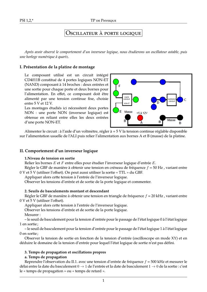 Oscillateur à porte logique