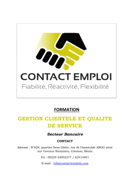 gestion clientele et qualite de service - contact