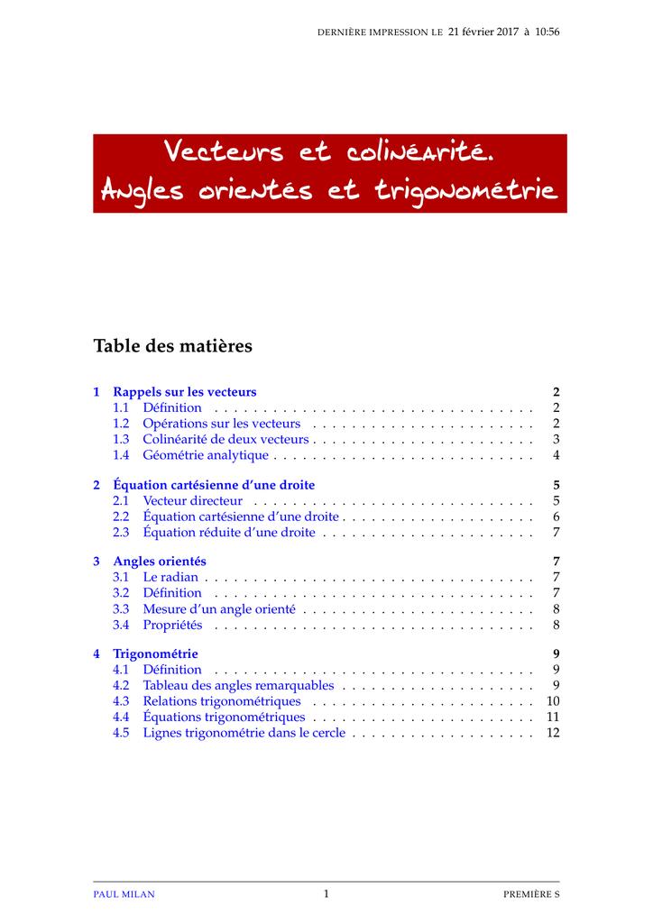 Vecteurs Et Colinearite Angles Orientes Et Trigonometrie