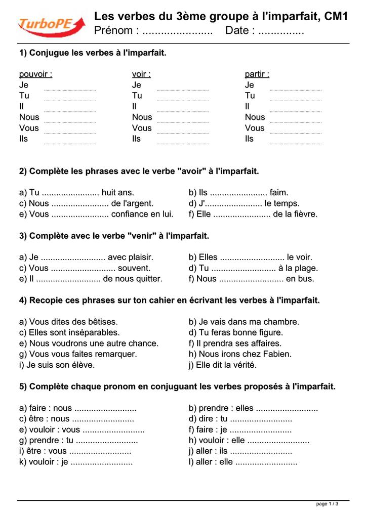 Les Verbes Du 3eme Groupe A L Imparfait Cm1