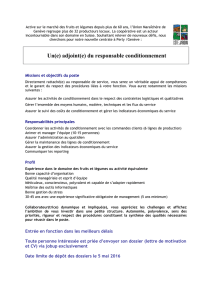 Un(e) adjoint(e) du responsable conditionnement