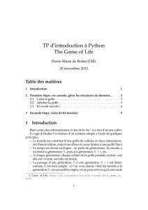 TP d`introduction à Python The Game of Life