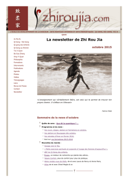 Newsletter de Octobre 2015