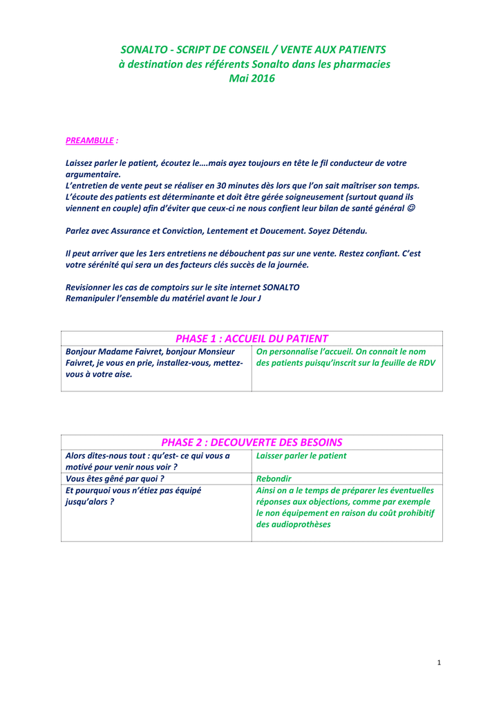 Script De Vente Sonalto Aux Patients Pour Les Referents Sonalto