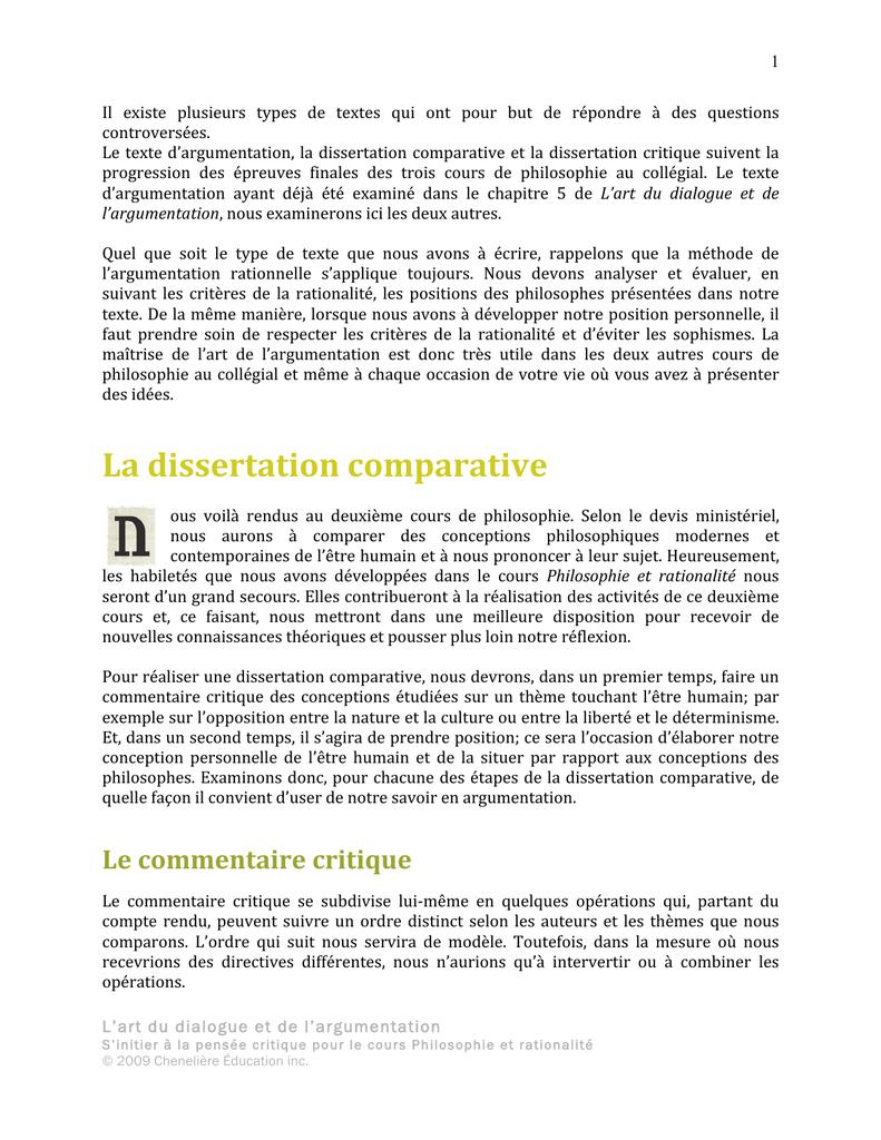La dissertation comparative