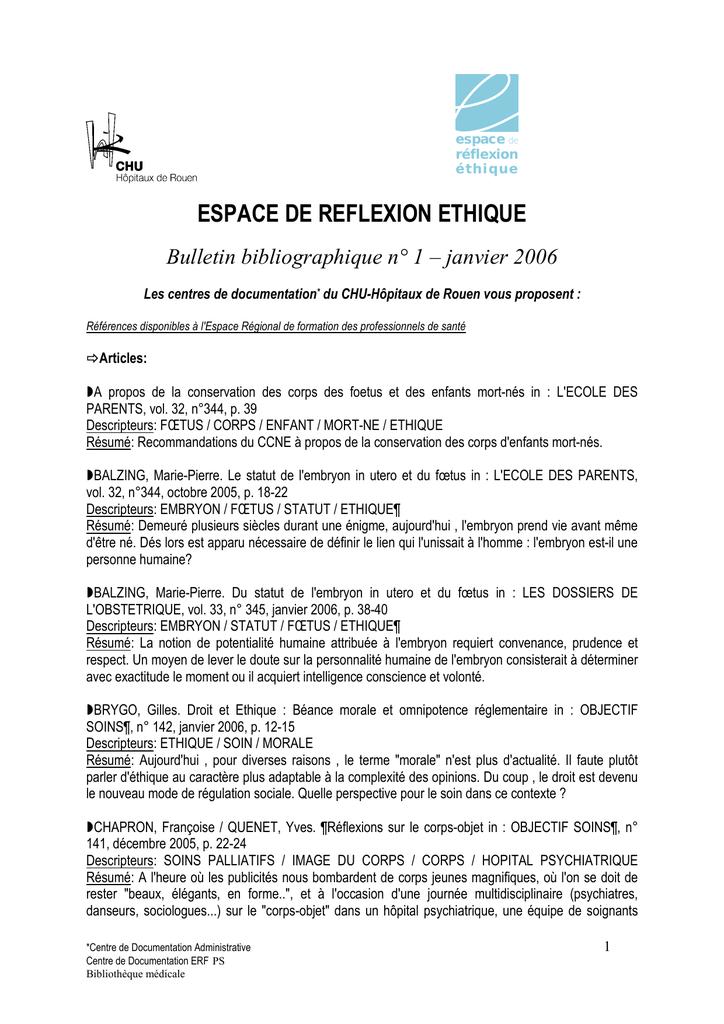 Bulletin bibliographie 1 - Espace de Réflexion