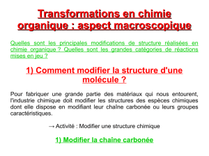 Transformations en chimie organique : aspect macroscopique