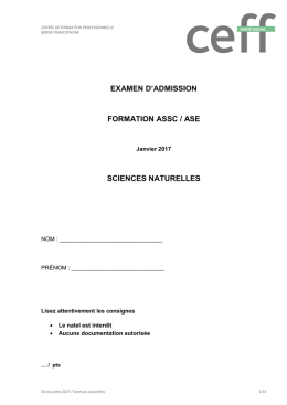 examen d`admission formation assc / ase sciences naturelles