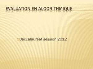 Evaluation en Algorithmique