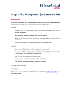 Stage Office Management/Secrétariat