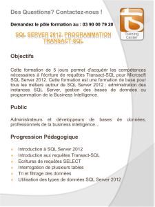 SQL Server 2012, Progammation TRANSACT-SQL