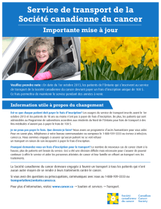 Service de transport de la Société canadienne du cancer Importante