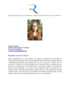 Virginie Beaulieu Maitrise, Département de sociologie Université de
