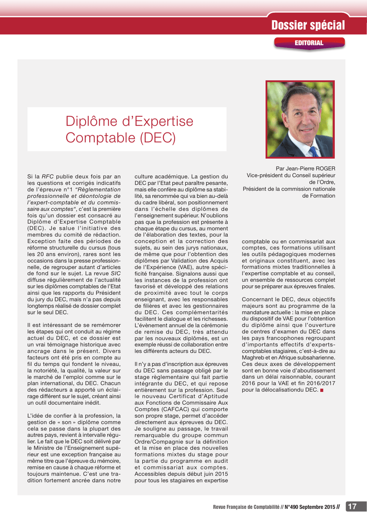 Dossier spécial Diplôme d`Expertise Comptable (DEC)