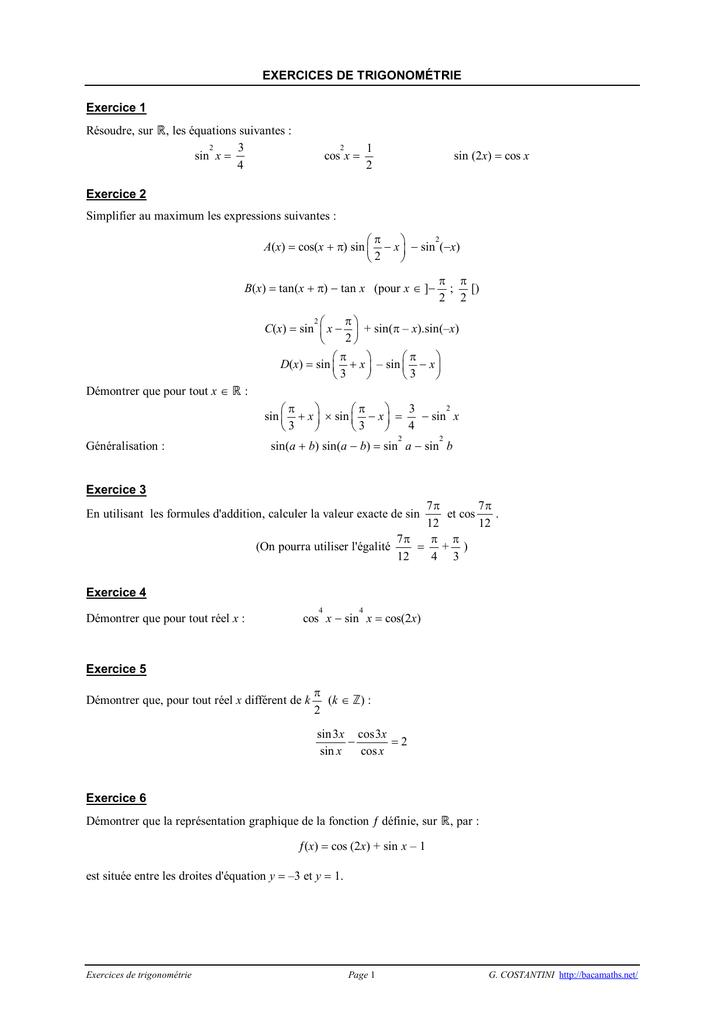 Exercices de trigonometrie en premiere