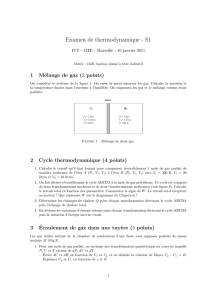 Examen de thermodynamique