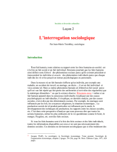 L`interrogation sociologique
