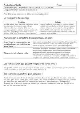 Production d`écrits Page Texte descriptif : le portrait, l